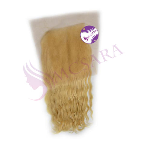 Frontal natural wavy hair blonde color