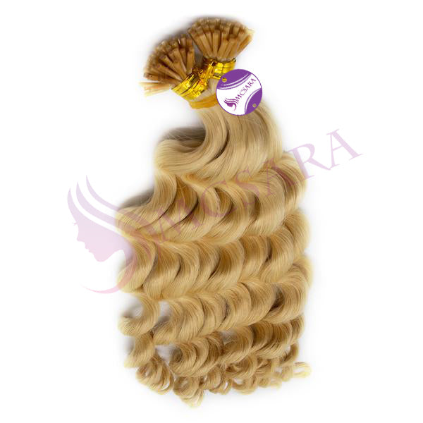 I tip curly hair extensions blonde color