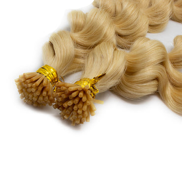 I tip body wavy hair light blonde color #613