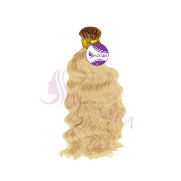 I tip wavy hair extensions blonde color