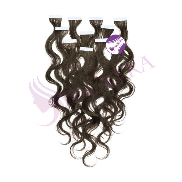 Tape in wavy hair extensions black color