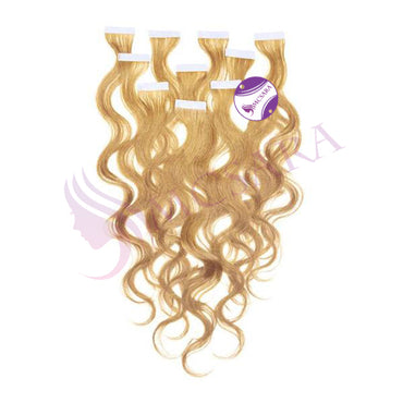 Tape in wavy hair light brown color