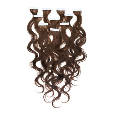 Tape in wavy hair dark brown cold color