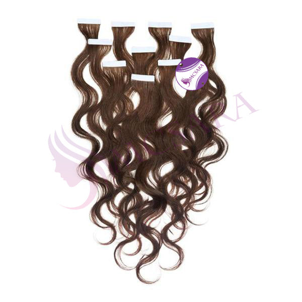 Tape in wavy hair brown color