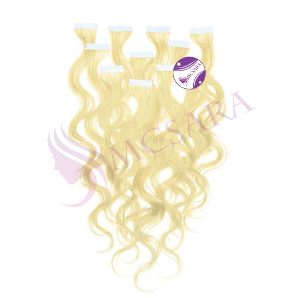 Tape in wavy hair Blonde color