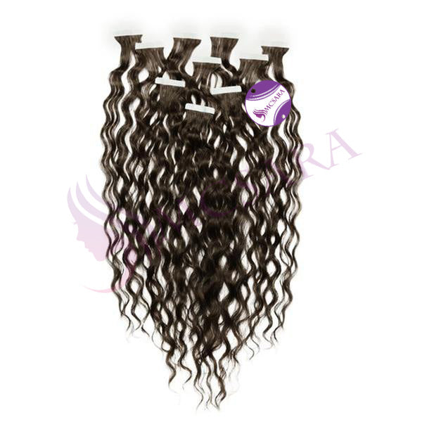 Tape in curly hair extensions black color