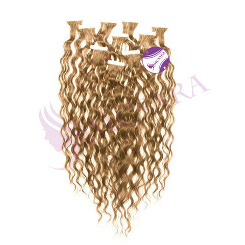 Tape in curly hair light brown color