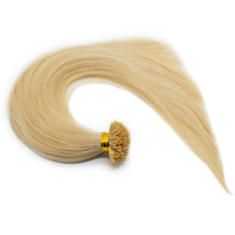 U tip straight hair light blonde color #60