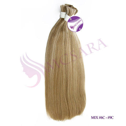 Bulk straight hair blonde cold color #6C- #9C