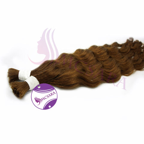 Bulk body wavy hair light brown color A++