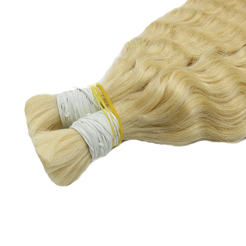 Bulk deep curly hair extensions blonde color #60