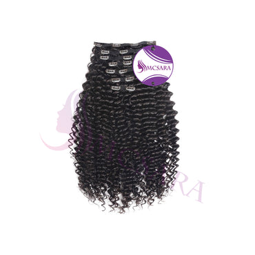 Clip in deep curly hair black color