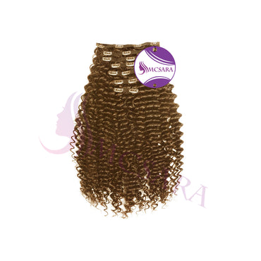 Clip in deep curly hair light brown color - MCSARA HAIR