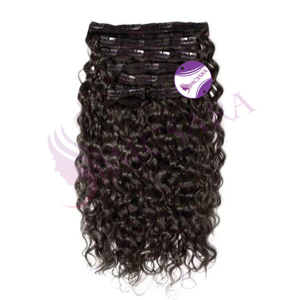 Clip in curly hair extensions black color