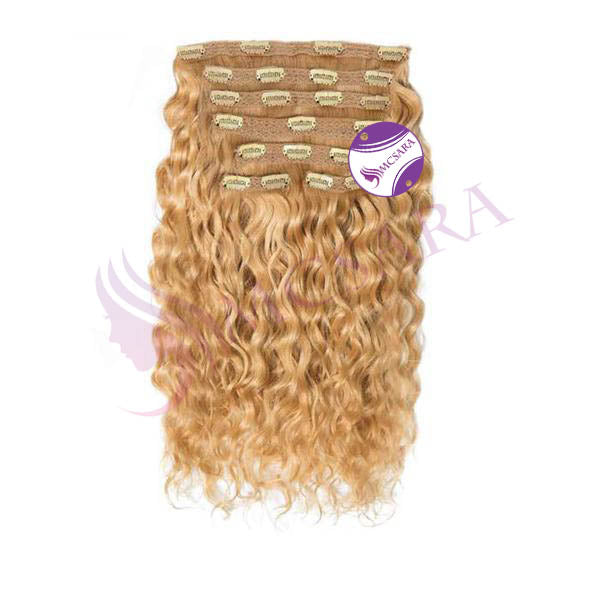 Clip in curly hair light brown color