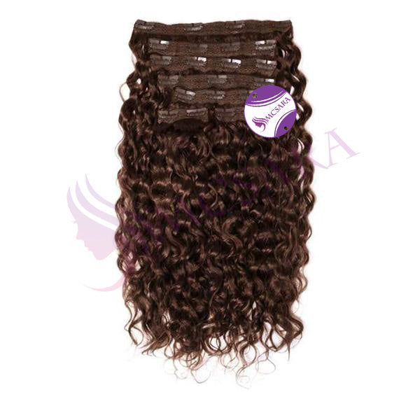 Clip in curly hair dark brown color
