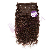 Clip in curly hair dark brown color - MCSARA HAIR