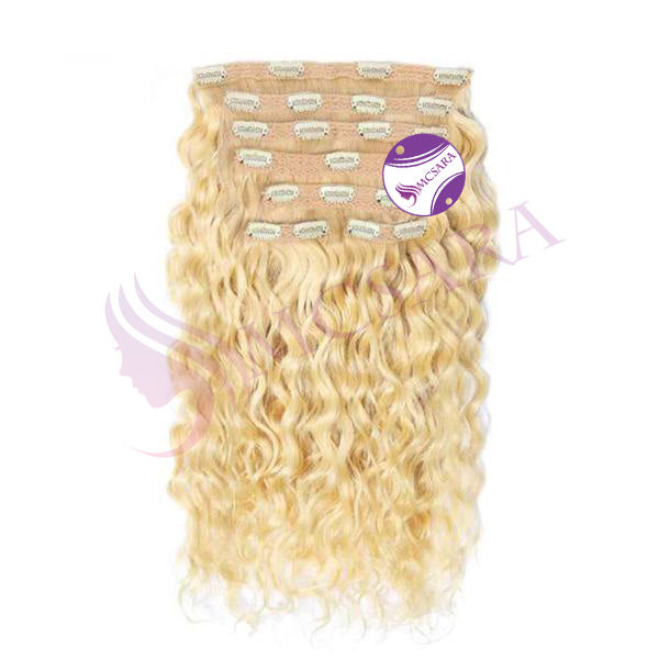 Clip in curly hair extensions Blonde color