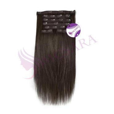 Clip in straight hair extensions black color