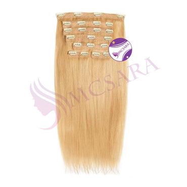 Clip in straight hair light brown color