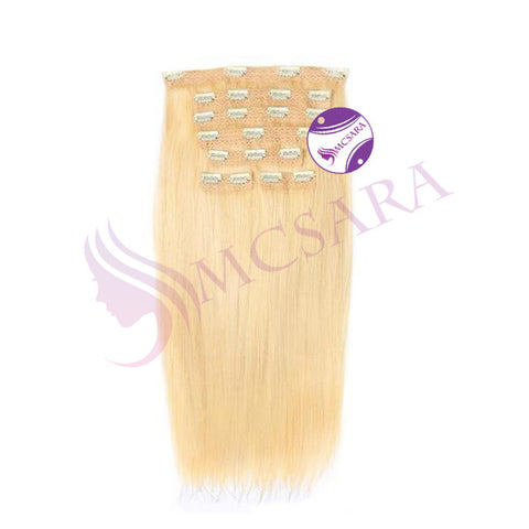 Clip in Straight hair Blonde color