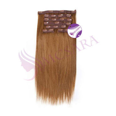 Clip in straight hair dark brown color