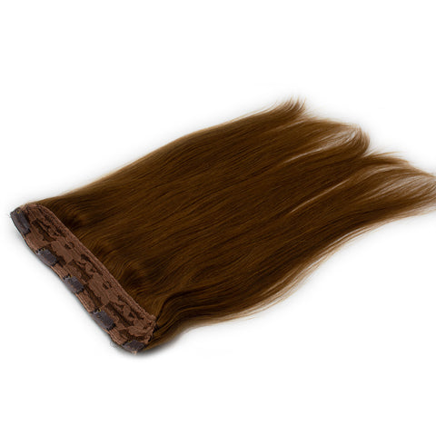 Clip in straight hair light brown color #6