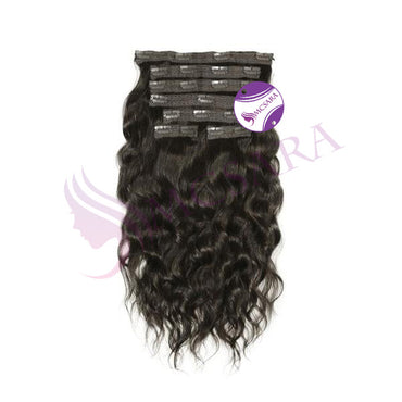 Clip in wavy hair extensions black color