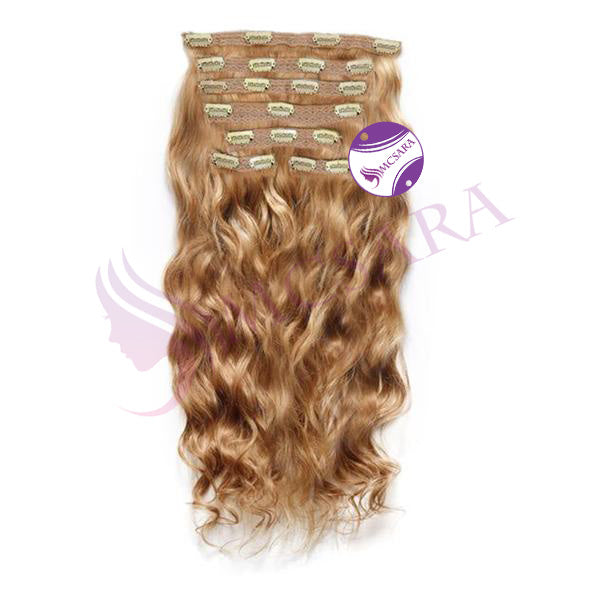 Clip in wavy hair light brown color