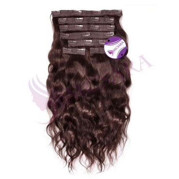 Clip in wavy hair brown color - MCSARA HAIR
