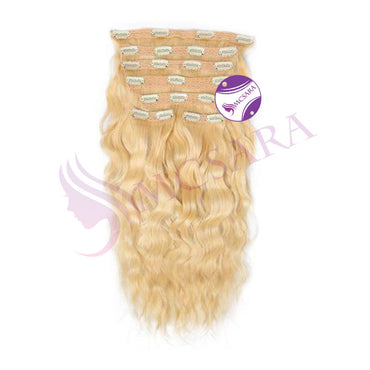 Clip in wavy hair dark Blonde color