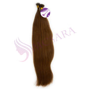 Flat tip straight hair brown color #6