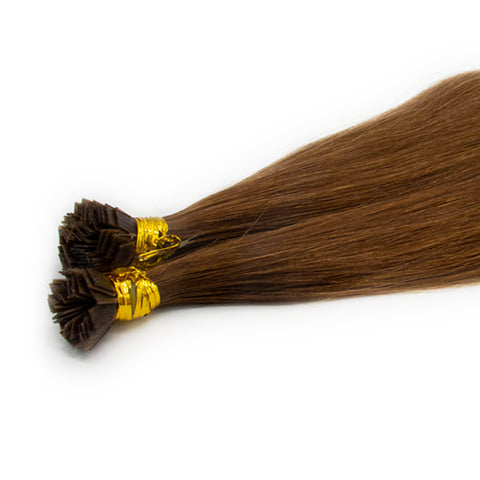 Flat tip straight hair light brown color #6