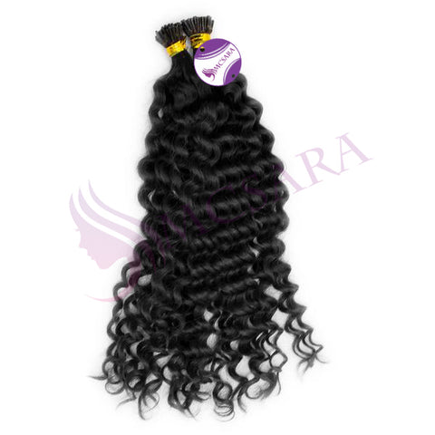 I tip curly hair extensions black color