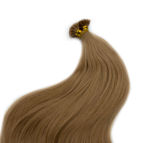 I tip straight hair light brown cold color 18C