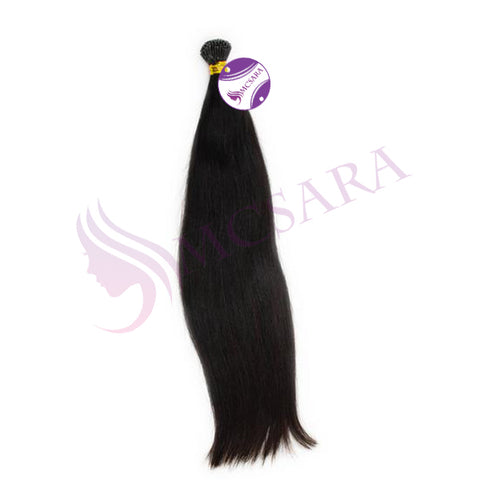 I tip straight hair extensions black color