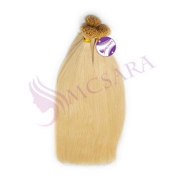 I tip straight hair extensions blonde color