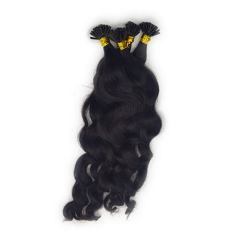 I tip wavy hair  extensions black color