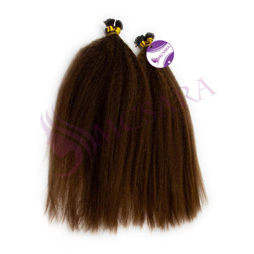 I tip kinky straight hair dark brown color #4