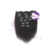 Clip in kinky straight hair black color