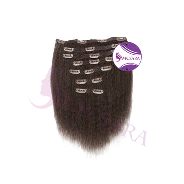 Clip in kinky straight hair brown color
