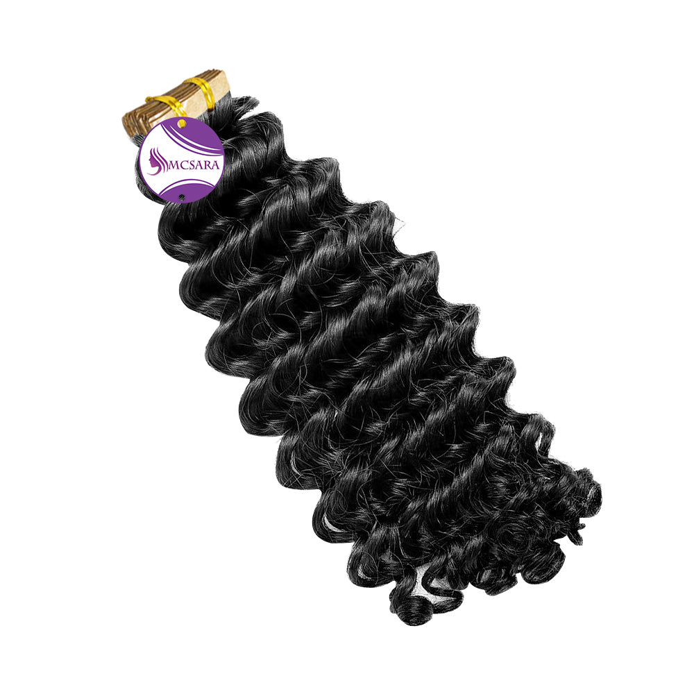 Tape in deep curly hair black color