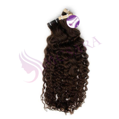 Tape in curly hair brown color