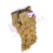 Tape in curly hair Blonde color - MCSARA HAIR