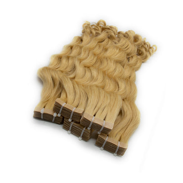 Tape in curly hair Blonde color
