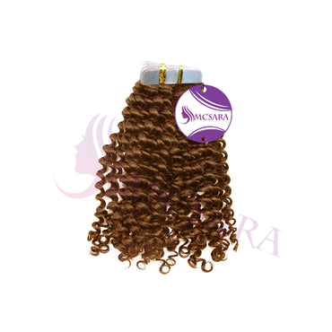 Tape in loose curly hair light brown color