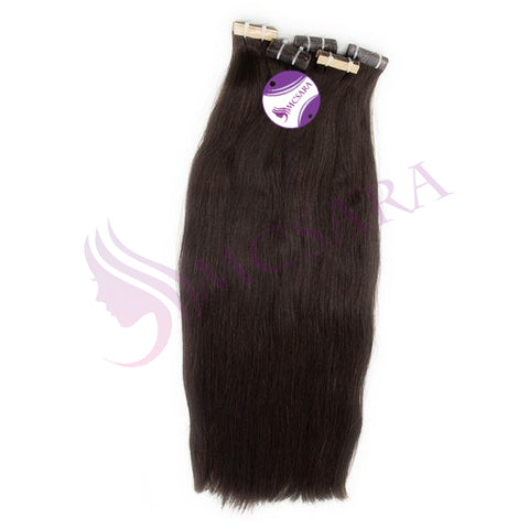 Tape in straight hair extensions black color