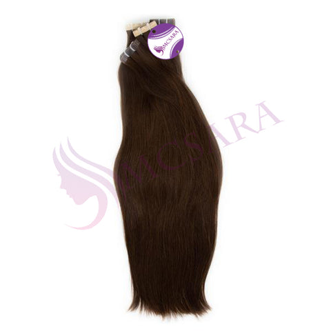 Tape in straight hair dark brown color #2Q