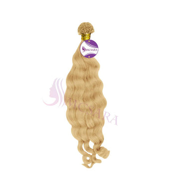 U tip wavy hair extensions blonde color