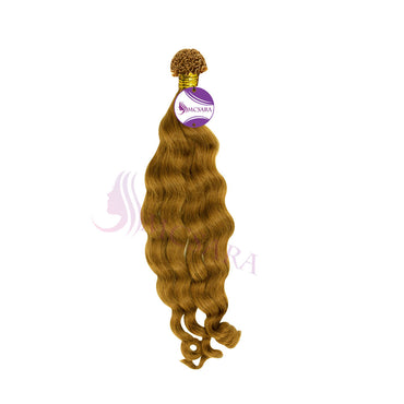 U tip wavy hair light brown color